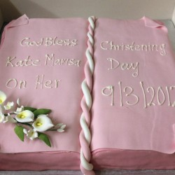 Christening bible with edible lillies