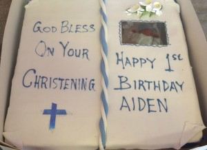 Christening cake bible with photo
