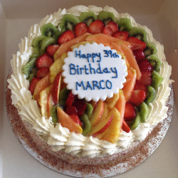 Mixed Fruit Gateau: Vanilla Sponge Layered with Fresh Cream