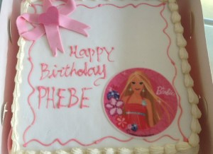 Fresh cream barbie cake with bow and picture