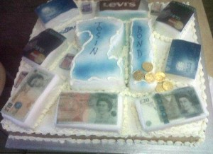 money cake with stacks, cards and coins