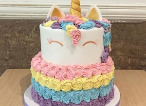 Unicorn Rosette Two Tiered Cake